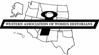 WAWH logo with Western Association of Women Historians written in a symbol of the Roman goddess Venus is often used to represent the women over a map of the western United States