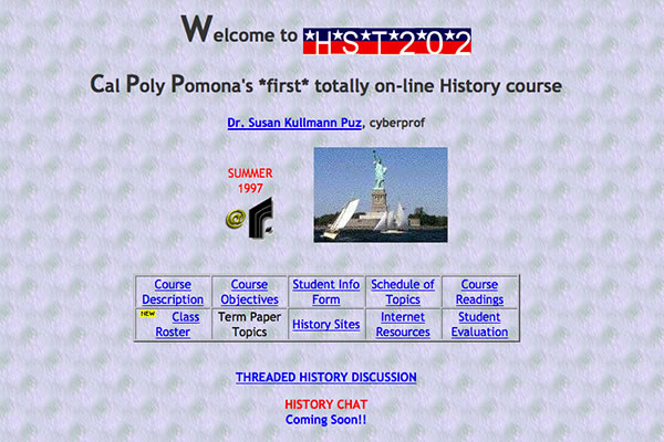 Partial homepage, History 202 homepage, July 6, 1997