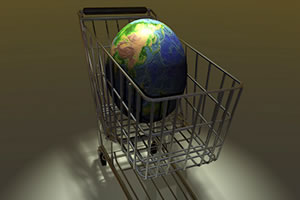 globe in a shopping cart representative of eCommerce